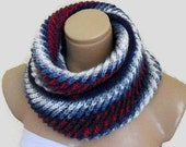 infinity scarf, cowl, neck warmer, Circle Scarf, soft, hand knit, unisex, women, Men, Burgundy, Navy, Ivory