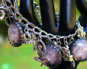 Kate Daniels Theme Charm Bracelet - Mythology - Vampire - Shape Shifter - Urban Fantasy - Magic - Altered Art Charm Bracelet - Author Swag