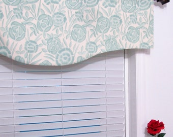 SALE!!! Lined Shaped Valance  Aqua Blue  Modern Floral  Curtain/ Ready to Ship!