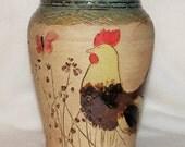 Chicken Stoneware Pottery Vase
