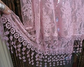 Gorgeous Uniquely Fringed Dusty Rose Delicate Floral Lace Shawl, Vintage