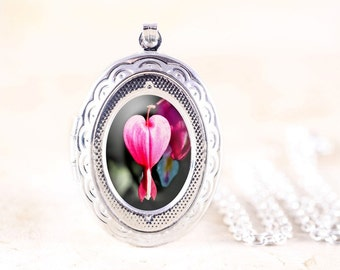 Bleeding Heart Locket - Silver Locket Necklace, Pink Flower Jewelry, Pink Heart Jewelry, Garden Flower Locket, Nature Locket