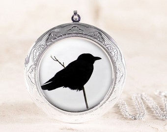 Crow Jewelry Locket - Silver Bird Jewelry, Gothic Crow Locket, Black Bird Silhouette Jewelry, Poe Raven Locket, Silver Bird Locket Necklace