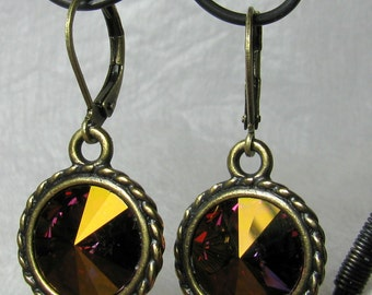 Earrings - Big, Bold 14mm Swarovski Rivoli Crystals in Antique Brass (E-238)
