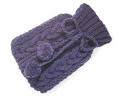 Knitted Hot Water Bottle Cover in Purple. Hot Bottle Cover Plum Dark Fleck Aran Cable Hot Water Bottle. Snuggle Cosy Winter Warmer Small