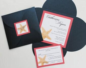 Navy Blue Metallic Tulip-fold Starfish Wedding Invitation with Monogram Fastening Label
