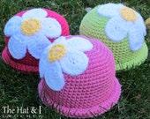 CROCHET PATTERN - Spring Fling - crochet hat pattern, daisy flower hat, crochet beanie pattern (Infant - Adult sizes) - Instant PDF Download