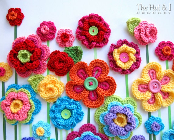 CROCHET PATTERN - Floral Fantasy - 5 colorful crochet flower patterns ...