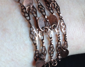 Copper chain bracelet with copper tags