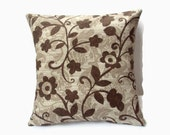 Chocolate Brown And Sage Print Decorative 16x16 Pillow Cover