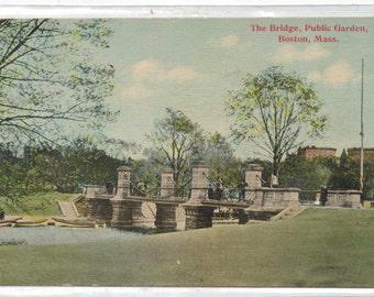 """Massachusetts, Postcard, """"The Bridge, Public Garden, Boston, Mass.,""""  1920s,  #493"""