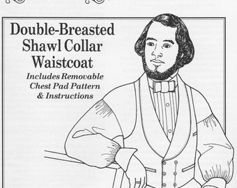 PP019 - Past Patterns #019, 1845-1858 Double Breasted Shawl Collar Waistcoat Sewing Pattern