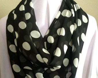 Black and White Polka Dot Chiffon Extra Long Infinity Scarf