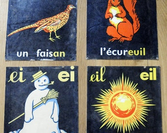 Set of 4 Vintage Alphabet French School Teaching Aid Cards
