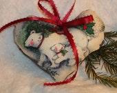 Christmas Polar Bear Heart Door hanging Sachet of Apple and Spice
