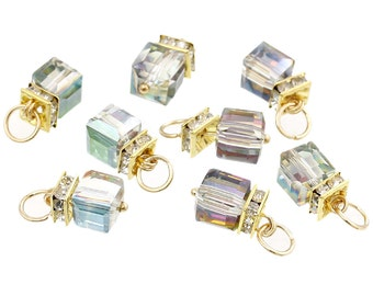 4 Gold Plated Charm Pendants, Mystic Rainbow Crystal Cube with rhinestone accents, 9mm, chg0185