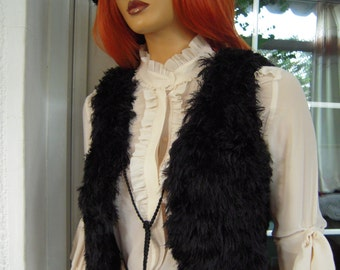 Vest handmade knitted sleeveless fluffy soft vest/sweater in black faux  fur,ready to ship, all size gift idea for her by goldenyarn