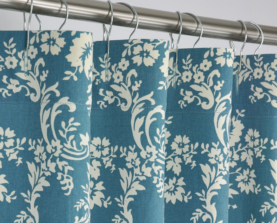 78 Long Teal Damask Shower Curtain 72 X 78 Long By Pondlilly