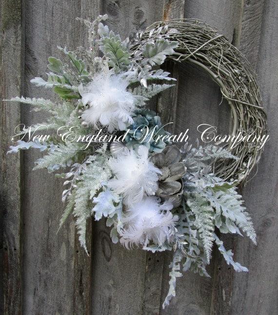 Hydrangea Wreath Centerpiece : Christmas wreath holiday designer elegant