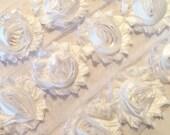 """SHIMMER White Shabby Rose Trim 2.5"""" Shabby Flowers Shabby Chiffon Flowers  Shiny Cloud Shabby Chic Trim Wholesale Rosette trim 6cm 1 yard"""