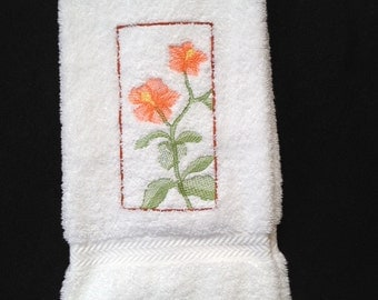 Melon Color Hibiscus Soft Shadow Embroidered On a White Bathroom Hand Towel