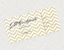 printable gift certificate gold glitter chevron christmas business marketing promotion printable editable file or last minute gift idea