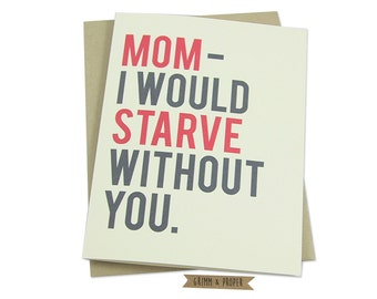 Funny Mother's Day Card, Mom's Birthday Card, Mother's Day Gift, Mother's Birthday, Mom's Cooking, Humorous Mother's Day Card, Family