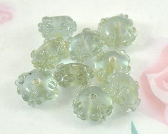 sale 5beads/lot Charm Clear Lavender Flower Rondelle Lampwork  Hole 2.5mm Handmade Glass gemstone beads 9mmx15mm
