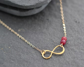Infinity Charm Necklace, Bridesmaid Gift, Birthstone Necklace, Everyday Necklace, Gold Infinity necklace, Personalized Necklace