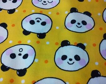 Bear face drawing, yellow, fat quarter, pure cotton fabric