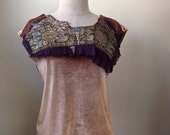 OOAK GOLD and PURPLE ReWorkeD//UpCyCLeD Sleeveless Top//Art to Wear//Eco Clothing//Upcycled Clothing//Boho Clothing//Silk Velvet Top