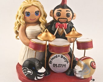 Bride and Groom Playing Drums Wedding Cake Topper