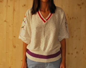 Vintage 60's Knitted Vneck Tshirt short sleeve blouse