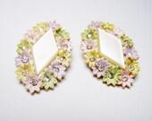 Fun Vintage Pastel Earrings Big Celluloid Earrings Made in Japan
