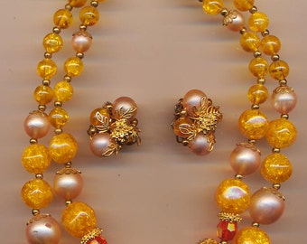 Pretty 2-strand vintage Deauville necklace and earring set - golden orange and rosy beige lucite beads