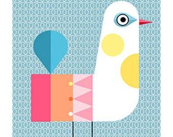 white bird, blue, mid century, modern print