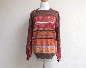 Awesome Vintage Late 70s Brittania Earth Tones Pullover Sweater XL