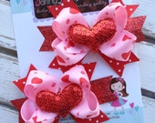 Valentines Day Pigtail Bows --- small pink and red bows with sequin hearts --- XOXO