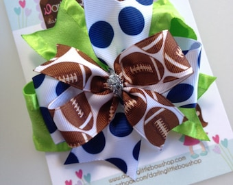 Seahawks Bow -- Football Team bow with optional headband - lime green, blue and silver - large bow with football team colors
