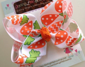 Easter Bow -- Carrots & Cream -- Large Basic Bow in polka dot and chevron sparkly Carrot ribbon