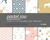 "Digital Paper + 090_Pastel Zoo + Scrapbook Quality Paper Pack  (12x12""- 300 dpi) 8 sheet pack paper  + Instant Download +"