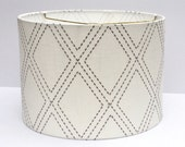 Medium Drum Lampshade Lamp Shade White with Embroidered Grey Diamond Pattern