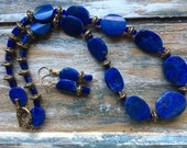 Lapis Lazuli and gold accent necklace and earring set