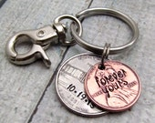 Personalized KeyChain - Hand Stamped KeyChain - State Coin Stamped Lucky Penny Keychain Personalized Penny with State Quarter
