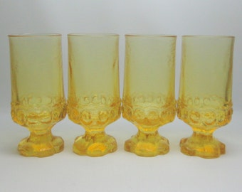 FOUR tiffin madeira glasses in yellow mid century modern heavy almost brutalist style