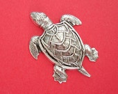 Turtle Ox Silver  Brass Stamping Ornament  Art Deco Antiqued Silver Jewelry Findings.(2)