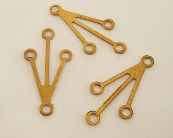 Raw Brass Stamping  Pendant  Connector 4 Loops.