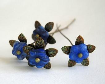 Blue Flower  Headpins 2 Inch long - 4.