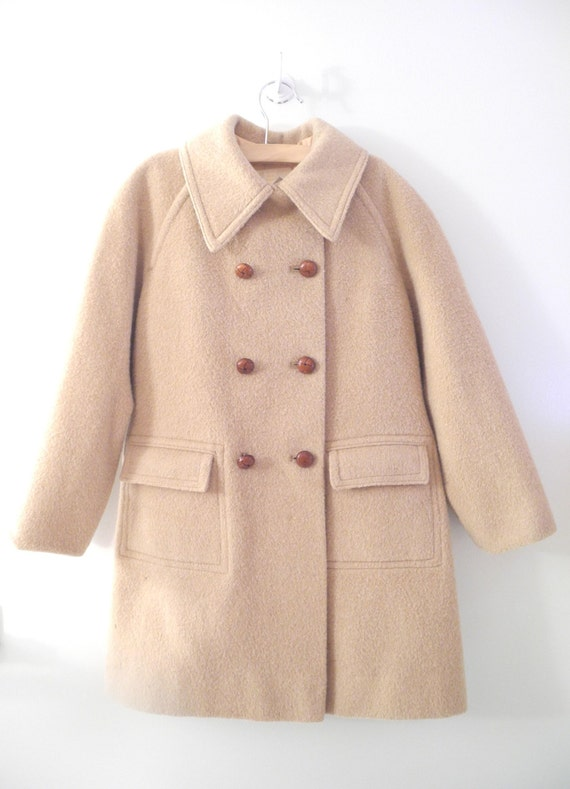 Vintage Girl's Clothes, 1940's Tan Wool Girl's Coat, I. Magnin, Camel Wool Girl's Coat, Vintage Winter Wool Girl's Coat, Size 7