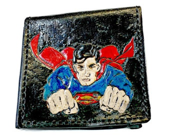 SuperMan Wallet - Superman Gift - Comics - Cartoon - Superhero - Leather Wallet - Dad - Boyfriend Gift - Marvel - DC.  Holds 8 cards,1 slots